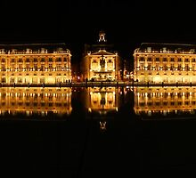 Night view of water mirror in Bordeaux, France by Nikolay Akulov