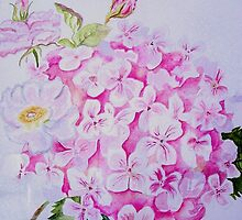 Hydrangea and Roses by Marriet