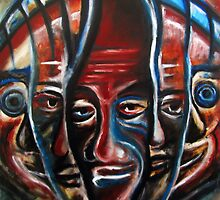Faces. Oil on Sintra 18 x 28 by Eno Bare