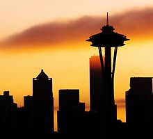 A Foggy Morning In Seattle iPhone case. by Todd Rollins