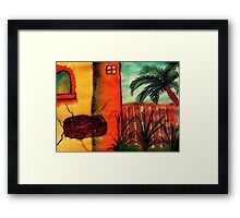 Broken old  wall,  #3 Tan series, watercolor Framed Print