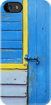 Blue Shed with Yellow by Kitsmumma