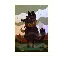 Black Fox in the Rain Art Print