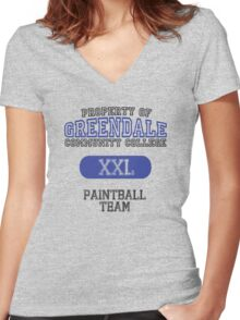 Greendale paintball team Women's Fitted V-Neck T-Shirt