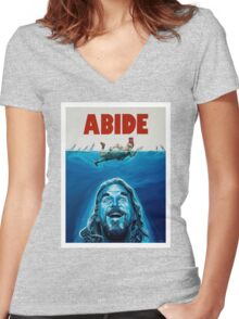 The Big Lebowski Abide Jaws Women's Fitted V-Neck T-Shirt