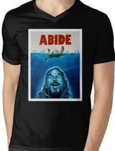The Big Lebowski Abide Jaws Mens V-Neck T-Shirt