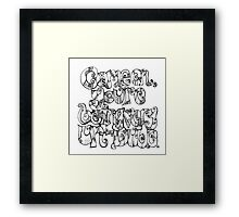 Big Lebowski quote - hand drawn 'Come on you're being very un-dude'. Framed Print