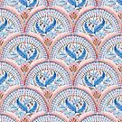 Art Deco Fresco in Sky Blue and Coral by micklyn
