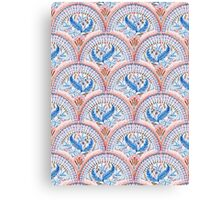 Art Deco Fresco in Sky Blue and Coral Canvas Print