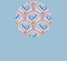 Art Deco Fresco in Sky Blue and Coral Womens Fitted T-Shirt