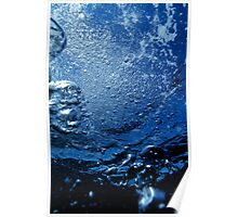 Bubbles rising to surface in sea, underwater view Poster