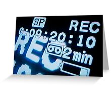 Recording information on television screen, close-up Greeting Card