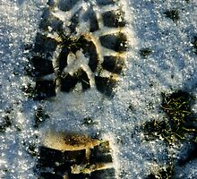Footprint in snow, close-up by Sami Sarkis