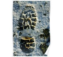 Footprint in snow, close-up Poster