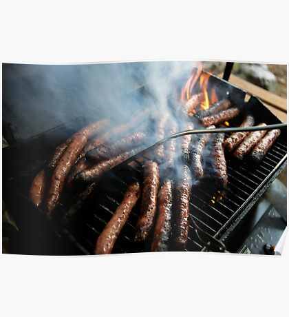 Sausages cooking on barbecue Poster