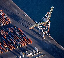 Freight container yard at Marseille Port by Sami Sarkis