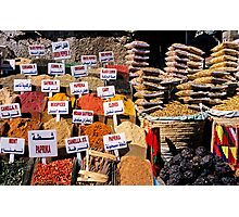 Herbs and spices displayed on stall in bazaar Photographic Print