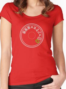 Camera Mode Dial Silver Green Women's Fitted Scoop T-Shirt