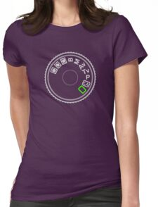 Camera Mode Dial Silver Green Womens Fitted T-Shirt
