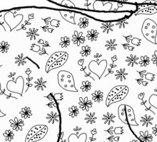 Naive Hare On Flowers and Hearts Pattern Sticker