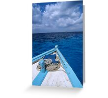 Deck and bow of diver's boat at sea Greeting Card