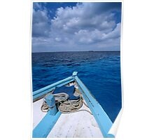 Deck and bow of diver's boat at sea Poster