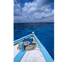 Deck and bow of diver's boat at sea Photographic Print