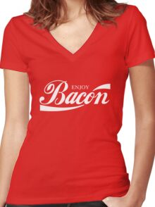 ENJOY BACON RED AND WHITE CLASSIC Women's Fitted V-Neck T-Shirt