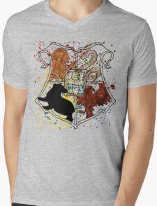 Hogwarts Splatter Crest Mens V-Neck T-Shirt