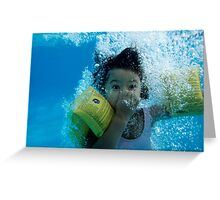 Young Girl Diving In A Swimming Pool Underwater Greeting Card