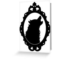 Halloween Art, Black Wolf Silhouette, Edgar Allan Poe, Wolfman, Werewolf, Horror Greeting Card