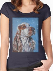 English Cocker Spaniel Fine Art Painting Women's Fitted Scoop T-Shirt