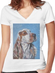 English Cocker Spaniel Fine Art Painting Women's Fitted V-Neck T-Shirt