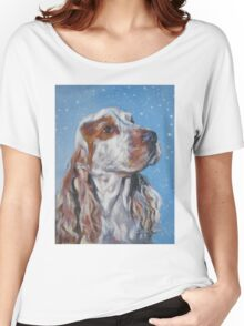 English Cocker Spaniel Fine Art Painting Women's Relaxed Fit T-Shirt