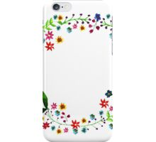 Water color floral wreath with meadow flowers. Floral frame, border. iPhone Case/Skin
