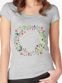 Water color floral wreath with meadow flowers. Floral frame, border. Women's Fitted Scoop T-Shirt