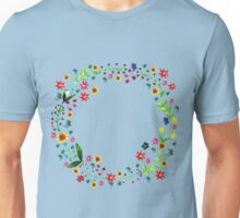 Water color floral wreath with meadow flowers. Floral frame, border. Unisex T-Shirt