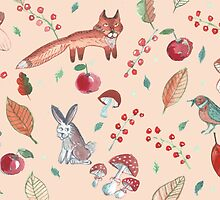 Hand drawn water color pattern with wild forest animals. by TrishaMcmillan