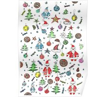 Water color hand drawn New Year set. Christmas character. Poster