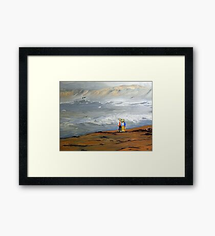 Surfs Up Couple Walk (Painting) Framed Print