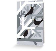 3 Blackbirds vector illustration Greeting Card