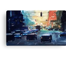 City traffic on a summer evening Canvas Print