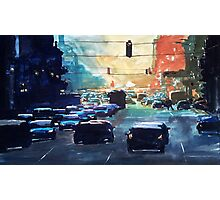 City traffic on a summer evening Photographic Print