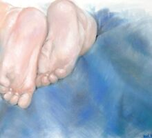 Baby Feet On Blue  by Jewel  Charsley