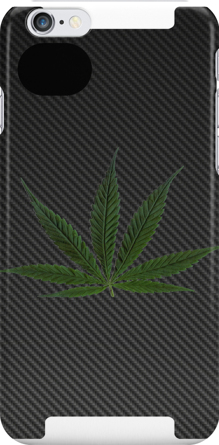 Carbon Fiber iPhone Case - marijuana leaf by kalitarios