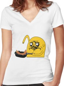 Me Gusta Bacon Pancakes Women's Fitted V-Neck T-Shirt