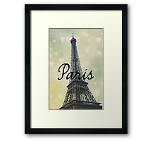 Paris Typography Eiffel Tower Framed Print