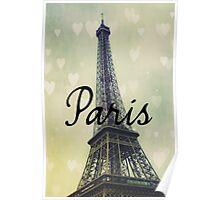 Paris Typography Eiffel Tower Poster