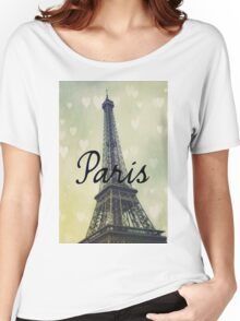 Paris Typography Eiffel Tower Women's Relaxed Fit T-Shirt