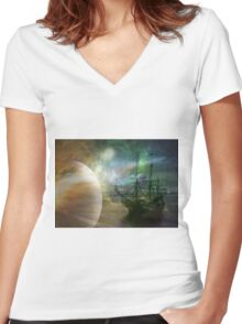 Lost at Sea Women's Fitted V-Neck T-Shirt